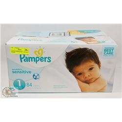 CASE OF PAMPERS SIZE 1 , 84 COUNT DIAPERS
