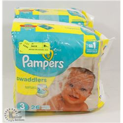 LOT OF2 PAMPERS SWADDERS, SIZE 2, SIZE 3