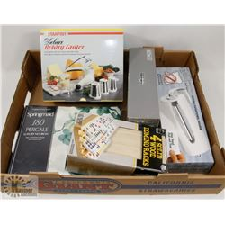 FLAT OF HOUSEHOLD ITEMS INCLUDING ROTARY GRATER