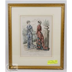 FRAMED STEEL ENGRAVED HAND COLORED FASHION PRINT