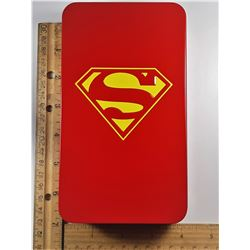 6)  SUPERMAN TIN FILLED WITH 120 LAPEL PINS
