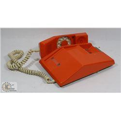 1970'S ORANGE DIAL PHONE - STILL WORKING