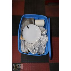 TOTE OF DISHWARE AND MORE