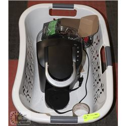 LAUNDRY BASKET WITH KEURIG MACHINE AND PODS