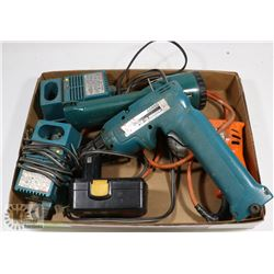 MAKITA DRILL, FLASHLIGHT, CHARGER & BLACK & DECKER