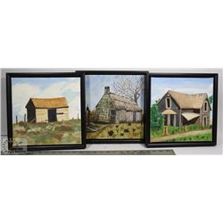 3 ORIGINAL OIL PAINTINGS ON CANVAS FARMHOUSE PICS