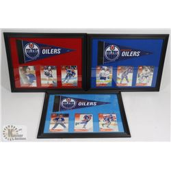 LOT OF 3 EDMONTON OILERS FRAMED CARD PICTURES.