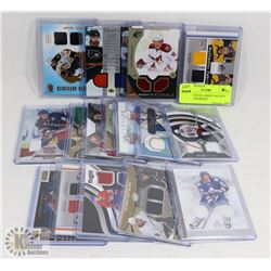 LOT OF 16 DUAL JERSEY HOCKEY CARDS - ASSORTED