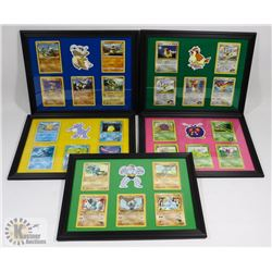 LOT OF 5 POKÉMON FRAMED CARD PICTURES.
