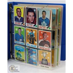 BINDER OF OVER 320 HOCKEY CARDS 1970-1989.