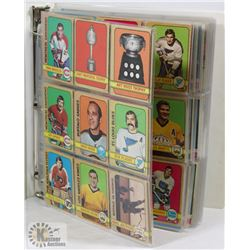 BINDER OF OVER 370 HOCKEY CARDS 1970-1989.