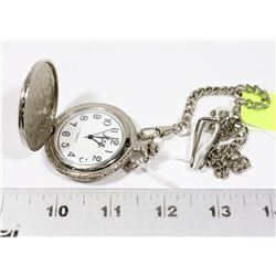 SILVER TONE HUNTER CASE 17 JEWEL POCKET WATCH