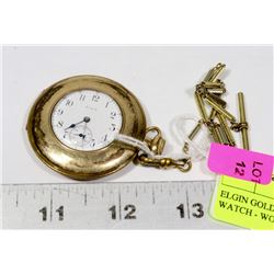 ELGIN GOLD PLATED POCKET WATCH - WORKING