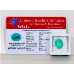 #2-NATURAL GREEN EMERALD LOOSE GEMSTONE 8.27CT