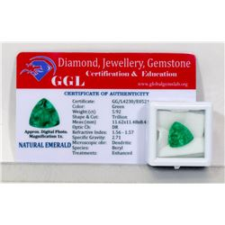 #4-NATURAL GREEN EMERALD LOOSE GEMSTONE 5.92CT