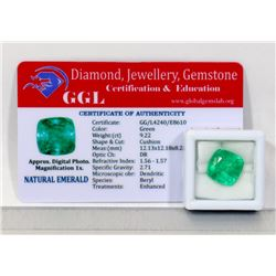 #9-NATURAL GREEN EMERALD LOOSE GEMSTONE  9.22CT