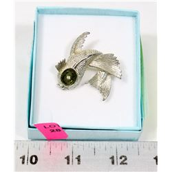 VINTAGE ESTATE KOI BROOCH WITH A CRYSTAL EYE