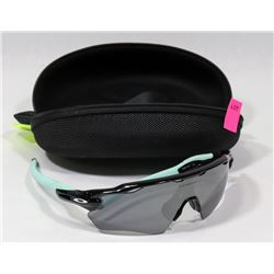 GENUINE OAKLEY BLACK & AQUA SUNGLASSES WITH CASE