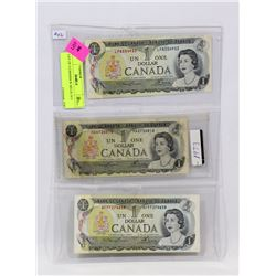 LOT OF 3 CANADIAN $1 BILLS 1973