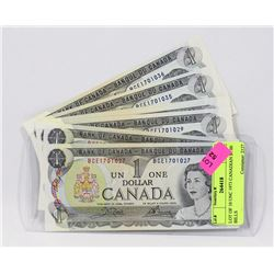 LOT OF 10 UNC 1973 CANADIAN $1.00 BILLS