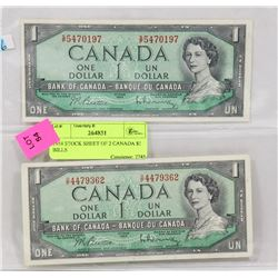 LOT OF TWO 1954 CANADA $1 BILLS