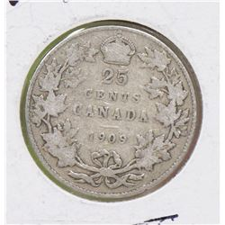 1909 CANADIAN SILVER EDVII 25 CENT COIN