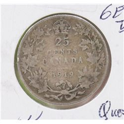 1919 CANADIAN SILVER EDVII 25 CENT COIN