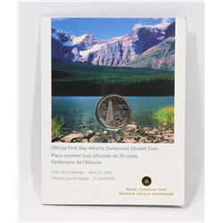 MOUNTED FIRST DAY ALBERTA CENTENNIAL 25 CENT COIN