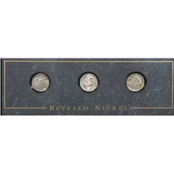 SET OF 3 U.S. BUFFALO NICKELS