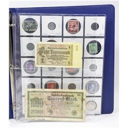BINDER WITH GERMAN COINS, STAMPS AND NOTES
