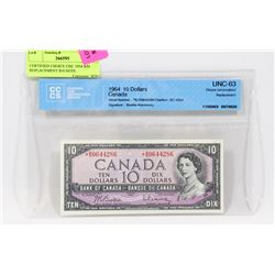CERTIFIED CHOICE UNC 1954 B/D REPLACEMENT $10 NOTE