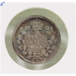 KEY DATE 1908 EDWARD VII 5 CENT COIN