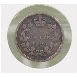 1893 CANADIAN QUEEN VICTORIA 5 CENT COIN