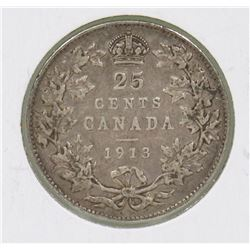 1913 CANADIAN GV 25 CENT COIN