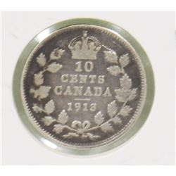 1913 CANADIAN GV 10 CENT COIN