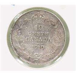 1910 CANADIAN VICTORIA LEAVES EDVII 10 CENT COIN