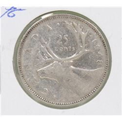 KEY DATE 1948 CANADIAN GVI 25 CENT COIN
