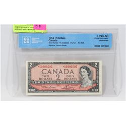 CERTIFIED CHOICE UNC 1954 K/G REPLACEMENT $2 NOTE