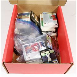 BOX OF ASSORTED HOCKEY AND BASEBALL CARDS