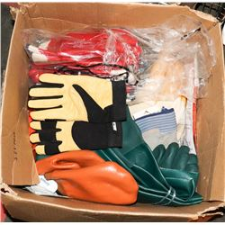 BOX OF ASSORTED GLOVES, INDUSTRIAL AND MORE
