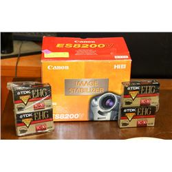 CANON ES8200V VIDEO CAMCORDER AND 4 TRACKS.