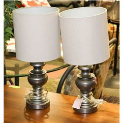 PAIR OF BRUSHED NICKLE COLORED SHOWHOME LAMPS
