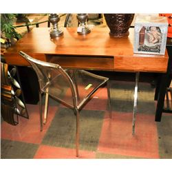 WOOD SHOWHOME DESK WITH CHROME LEGS &