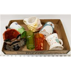 TRAY FILLED WITH VARIOUS COLLECTIBLE MUGS & GLASS