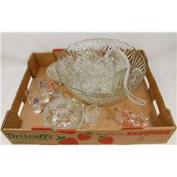 GLASS PUNCH BOWLS AND  DECORATIVE GLASSES