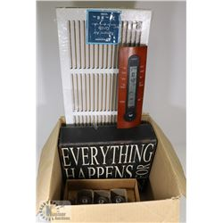 BOX OF ASSORTED HOUSEWARES, INCLUDING SIGN AND