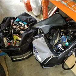 2 HOCKEY BAGS OF CLEATS