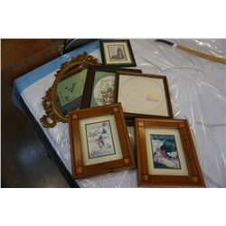 "5 FRAMED ART WORKS - 2 NEEDLE PRINT, 1 TEXTILE ART, LARGEST 15"" x 18"", AND DECORATIVE MIRROR"