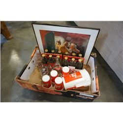 TRAY OF COCA-COLA COLLECTIBLES AND BOTTLES