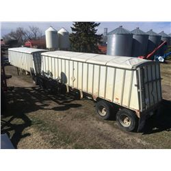 Merrit Lead Grain Trailer and Merrit Pup Grain Trailer with tarps
